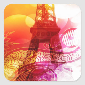 Romantic Eiffel Tower Square Sticker