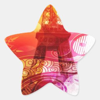 Romantic Eiffel Tower Star Sticker