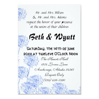 Romantic Elegant Blue Dandelion Romantic Wedding Card