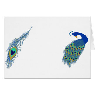 Romantic Elegant Blue Peacock Feathers Card
