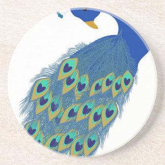 Romantic Elegant Blue Peacock Feathers Coaster
