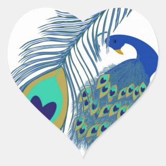 Romantic Elegant Blue Peacock Feathers Heart Sticker
