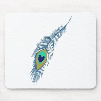 Romantic Elegant Blue Peacock Feathers Mouse Pad