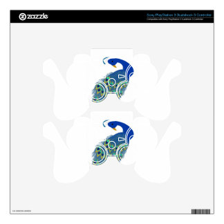 Romantic Elegant Blue Peacock Feathers PS3 Controller Decals