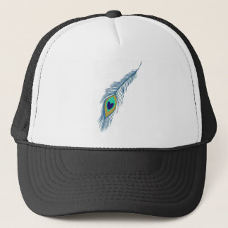 Romantic Elegant Blue Peacock Feathers Trucker Hat
