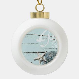 Romantic Elegant blue Seashell Beach decor Ceramic Ball Christmas Ornament