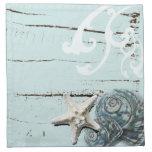 Romantic Elegant blue Seashell Beach decor Cloth Napkins