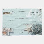 Romantic Elegant blue Seashell Beach decor Kitchen Towel