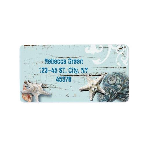 Romantic Elegant blue Seashell Beach decor Personalized Address Labels