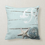 Romantic Elegant blue Seashell Beach decor Throw Pillows