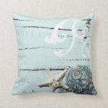 Romantic Elegant blue Seashell Beach decor Pillow