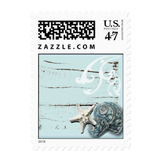 Romantic Elegant blue Seashell Beach decor Postage Stamp