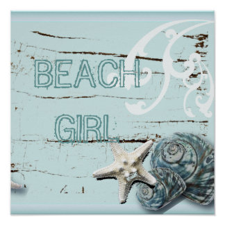 Romantic Elegant blue Seashell Beach decor Poster