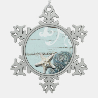 Romantic Elegant blue Seashell Beach decor Snowflake Pewter Christmas Ornament