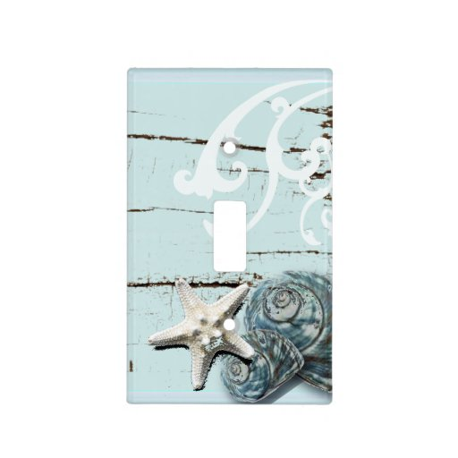 Romantic Elegant Blue Seashell Beach Decor Switch Plate