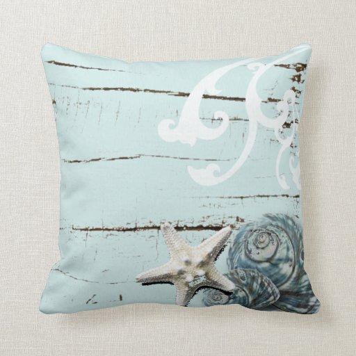 Romantic Elegant blue Seashell Beach decor Throw Pillow Zazzle