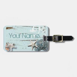Romantic Elegant blue Seashell Beach fashion tag Luggage Tags