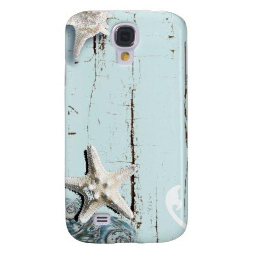 Romantic Elegant blue Seashell Beach girl fashion Galaxy S4 Covers