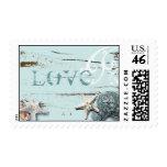 Romantic Elegant blue Seashell Beachwedding stamps