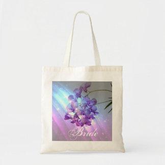 romantic elegant  glamour purple orchid bride budget tote bag