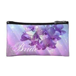 romantic elegant  glamour purple orchid bride makeup bag