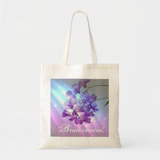 romantic elegant  glamour purple orchid bridesmaid canvas bags