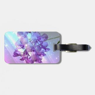 romantic elegant  glamour purple orchid wedding luggage tag