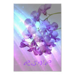romantic elegant purple orchid wedding RSVP 3.5x5 Paper Invitation Card