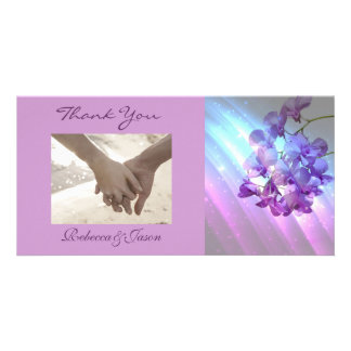 romantic elegant  purple orchid wedding thank you photo card