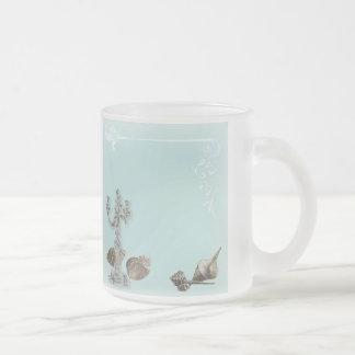 Romantic Elegant Seashell Beach Wedding 10 Oz Frosted Glass Coffee Mug