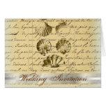 Romantic Elegant Seashell Beach Wedding Favor Card