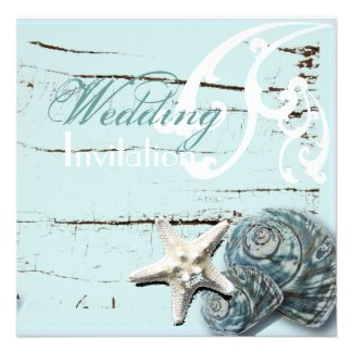 Romantic Elegant Seashell Beach Wedding Invitation