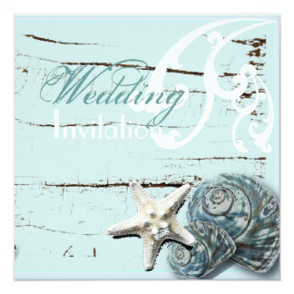 "Romantic Elegant Seashell Beach Wedding Invitation 5.25"" Square Invitation Card"