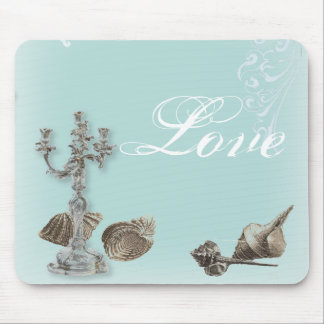 Romantic Elegant Seashell Beach Wedding Mouse Pad