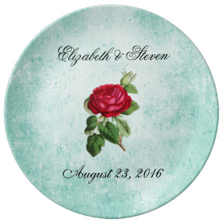 Romantic Elegant Vintage Red Rose Wedding Plate