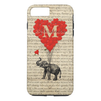 Romantic elephant and love heart monogram iPhone 7 plus case