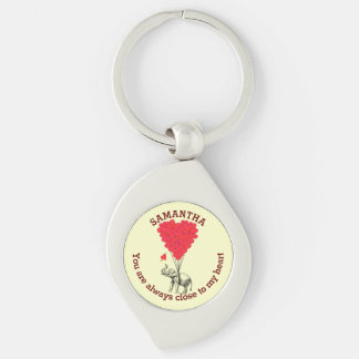 Romantic elephant and red heart personalized keychain