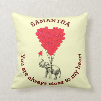 Romantic elephant and red heart personalized throw pillow