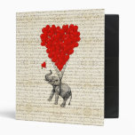 Romantic elephant & heart balloons binders