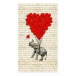 Romantic elephant & heart balloons business card template