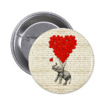 Romantic elephant & heart balloons 2 inch round button