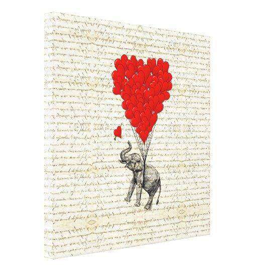 Romantic elephant & heart balloons canvas print