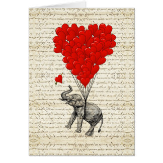 Romantic elephant & heart balloons greeting cards