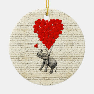 Romantic elephant & heart balloons ceramic ornament