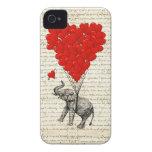 Romantic elephant & heart balloons iPhone 4 Case-Mate cases