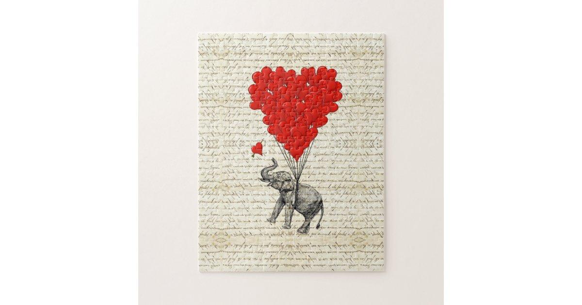 Romantic Elephant Amp Heart Balloons Jigsaw Puzzle Zazzle Com