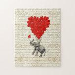 Romantic elephant & heart balloons jigsaw puzzles