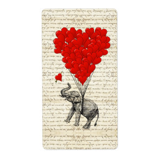 Romantic elephant & heart balloons custom shipping labels