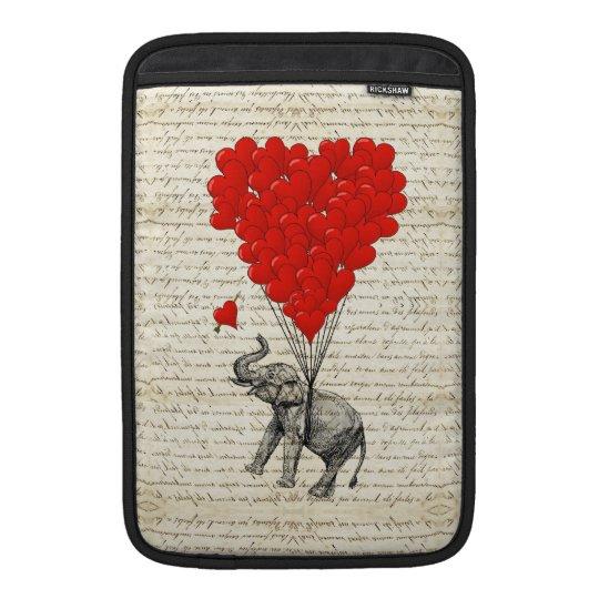 Romantic elephant & heart balloons MacBook sleeve
