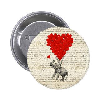 Romantic elephant & heart balloons pins